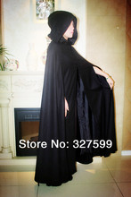 black woolen hooded Gothic Halloween PartyAdult Gothic Hooded Cloak Wicca Robe Medieval Witchcraft Larp Cape Halloween size S-XL