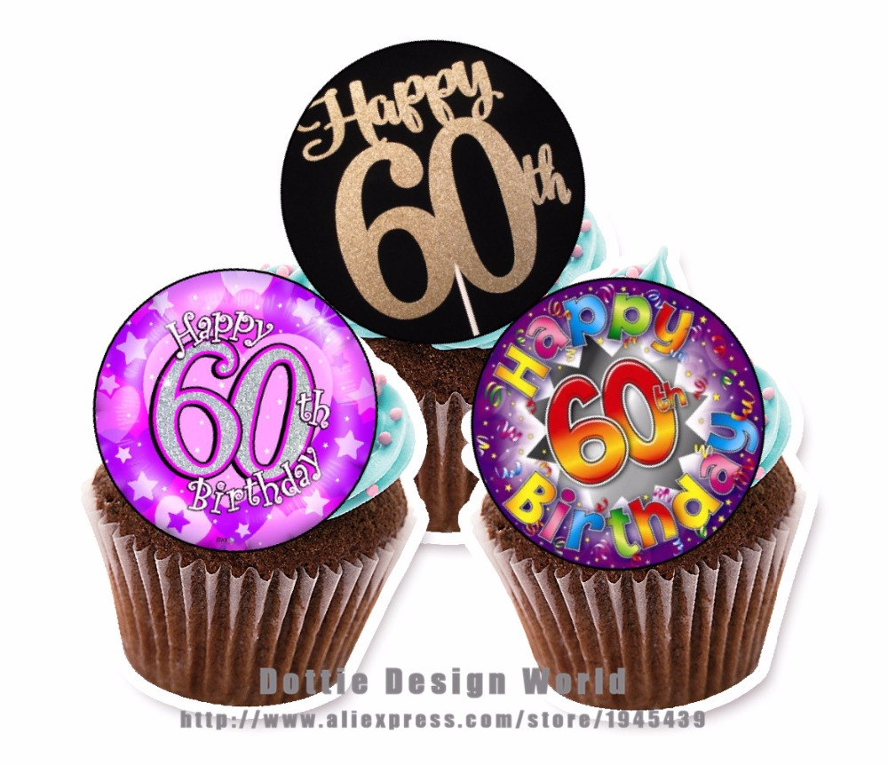 24 60th Birthday Edible Cake Topper Wafer Rice Paper Cake