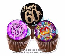 24 60th Birthday Edible Cake Topper Wafer Rice Paper Cookie Cupcake Decoration Wedding Decor Supply