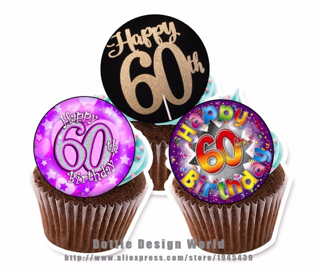 24 60th Birthday Edible Cake Topper Wafer Rice Paper Cookie Cupcake Decoration Wedding