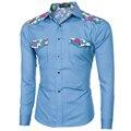 Denim Shirt Men 2016 Spring Autumn Long Sleeve Patchwork Floral Shirt Fashion Slim Fit Casual Jeans Social Shirt Light Blue 2XL