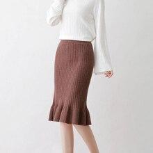 UPPIN осенние зимние юбки Женская эластичная высокая Талия Женская сексуальная юбка-карандаш длиной до колена длинная юбка faldas jupe femme