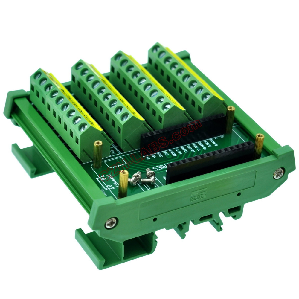 CZH LABS DIN Rail Mount Screw Terminal Block Breakout Module Board for MKR.