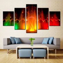 5 Pieces Town Square Water Colorful Fountain Modern Home Wall Decor Canvas Picture Art HD Print Painting On Canvas Artworks