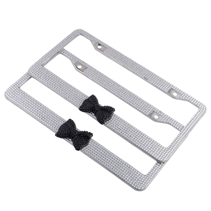 Sdwow 2pcs American Us License Plate Frame Bow Bling Glitter Crystal Stainless Steel Frames Tag Cover Holder In From