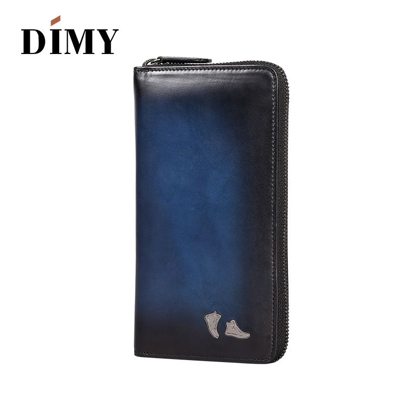 2018 New Luxury Genuine Leather Wallets Men Long Vintage Style Designer Male Wallets Famous Brand Purses Back Card Holder zipper
