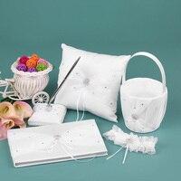 5pcs/set Wedding Decor Supplies Satin Flower Girl Basket Ring Bearer Pillow Guest Book Pen Holder Bride Garter White Set