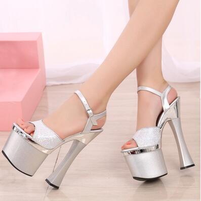 ФОТО Shoes Woman 18cm / 20 cm Ultra-high-heeled Sandals Nightclub With Thick Waterproof Platform Hentian High Performance Shoes