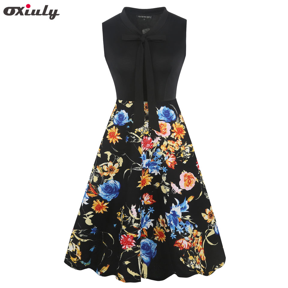 Oxiuly Vintage Style Women Sleeveless Polka Dot Print Patchwork A-line Dress Casual 2019 Spring Autumn Vestidos Mujer