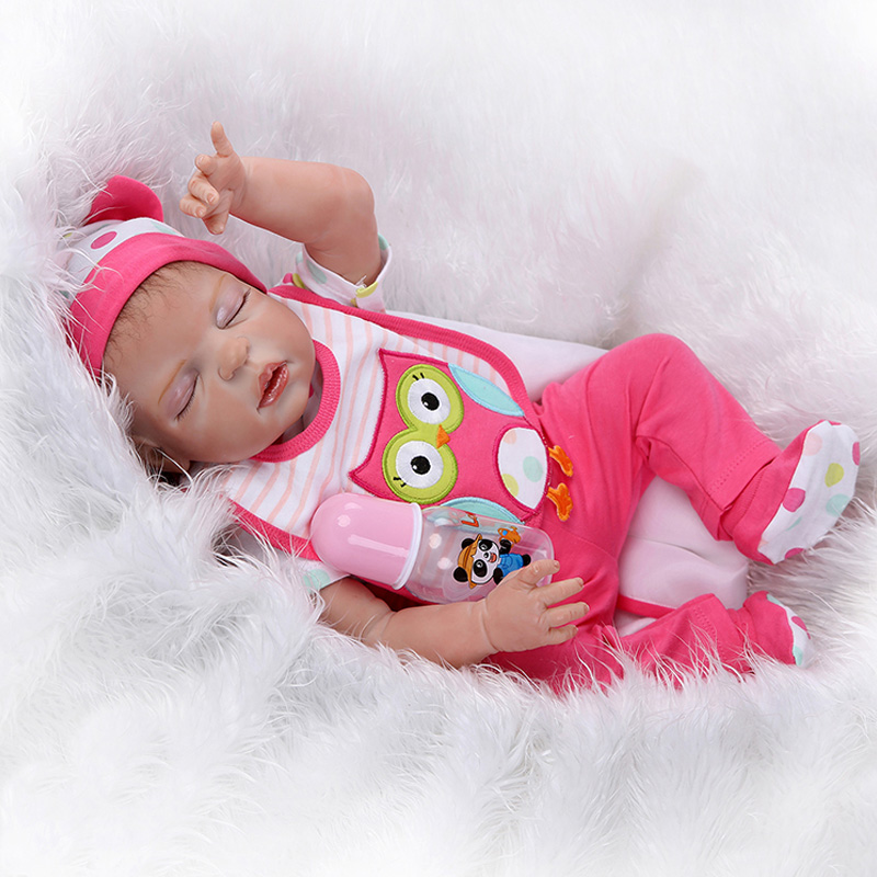 Hot New 22 Inches Baby Reborn 56cm Realistic Baby Reborn Doll Baby Handmade Girl Body Full Body Silicone Sleeping Baby Doll Toy