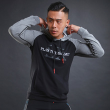 Men's Letter Printed Patchwork Hooded Sports T-Shirt Jersey Breathable Long Sleeve Sweaters Hoodie for Training Running Fitness