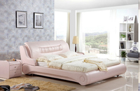 High quality factory price royal large king size Genuine leather soft bed bedroom wedding furniture soft bed 4299