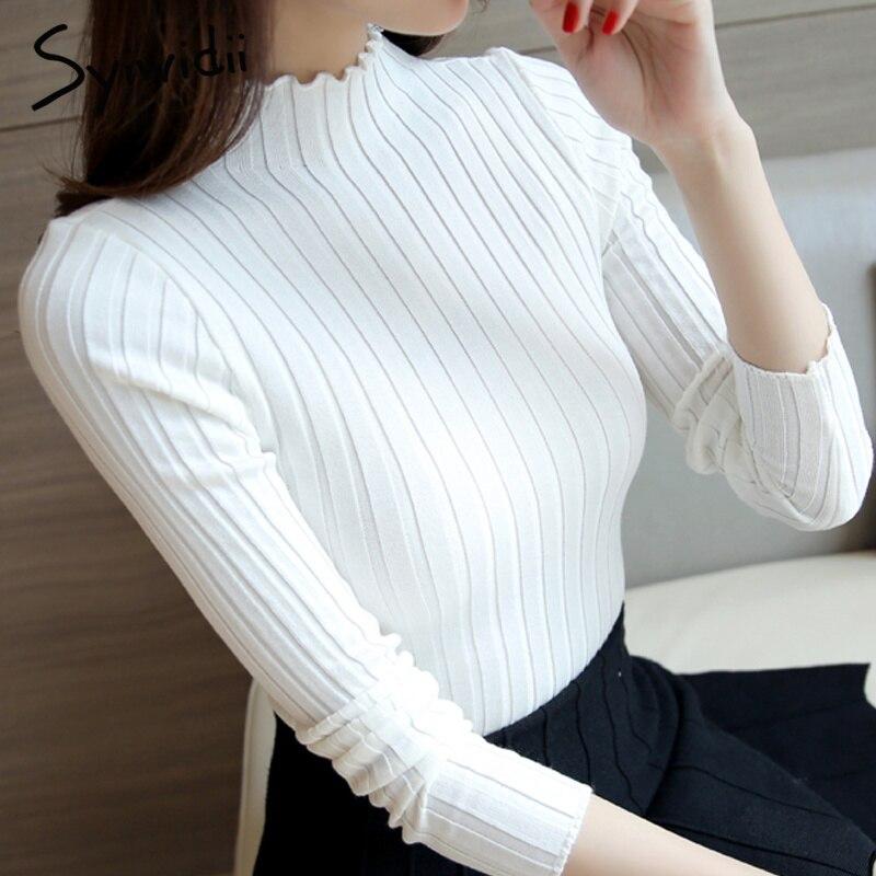 Weiß Pullover Mode 2018 Frauen Rollkragen Pullover grund Korean Pullover dünne Gestrickte Pullover Frauen Elastische Bodenbildung Twist