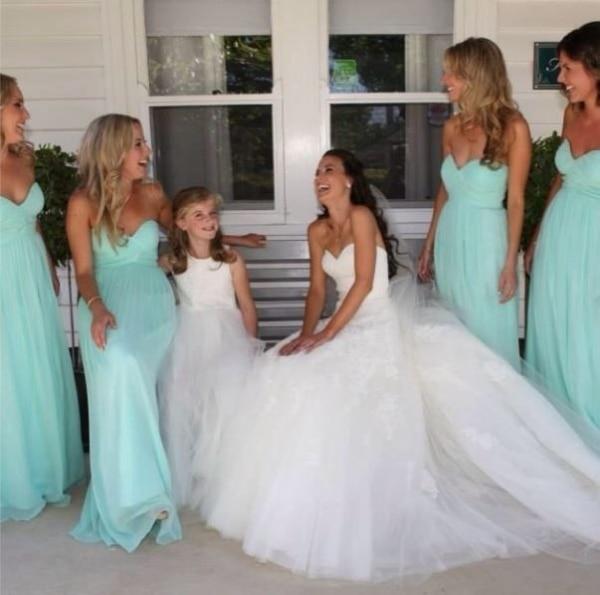 2016 Simple Floor Length Chiffon Bridesmaid Dresses Light Blue Wedding Party Gown