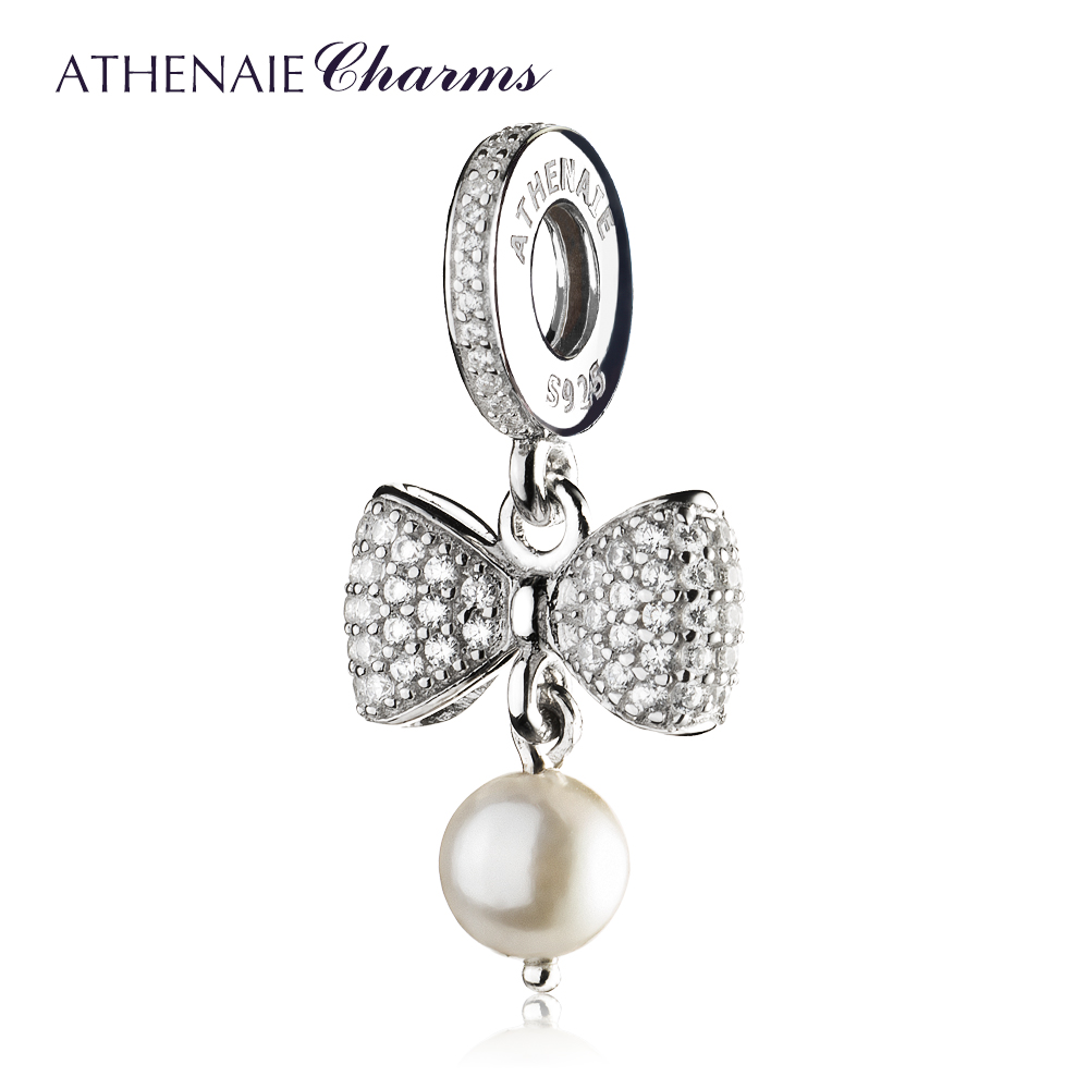 ATHENAIE 925 Sterling Silver Pave Clear CZ Sparkling Bow White Pearl Pendant Necklace Charms Fit Bracelets Women Christmas Gift(China)