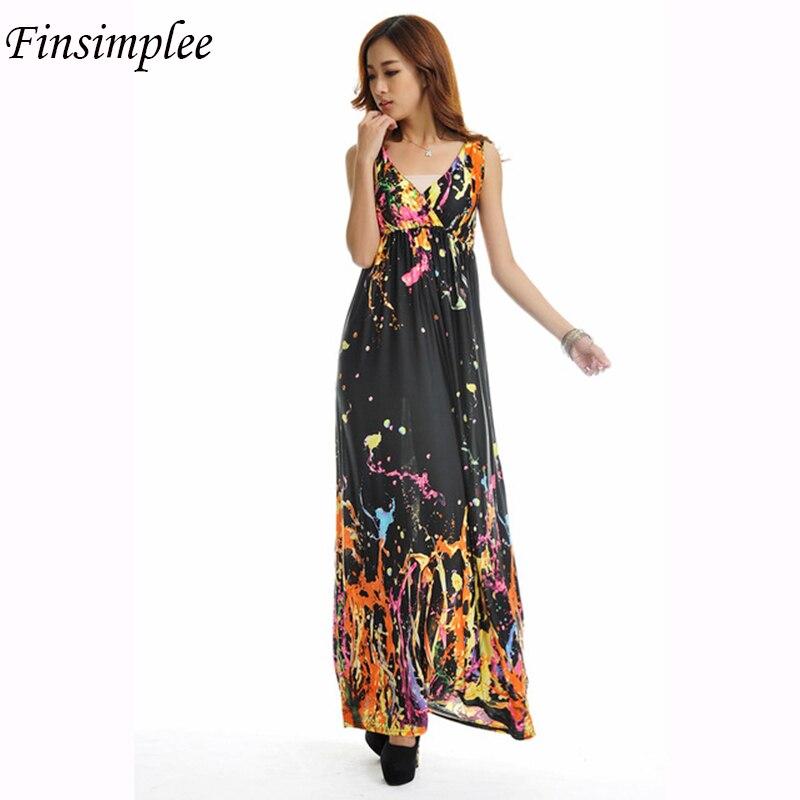 Elegant Bohemian Beach Dress Xl 5xl Graffiti Print Dress Big Plus