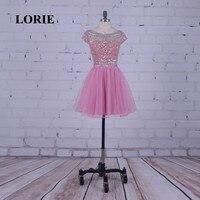 Лори Розовый Homecoming платье Scoop строки из бисера с Камни Короткие Мини партия платье Vestido De formatura Курто коктейльные платья