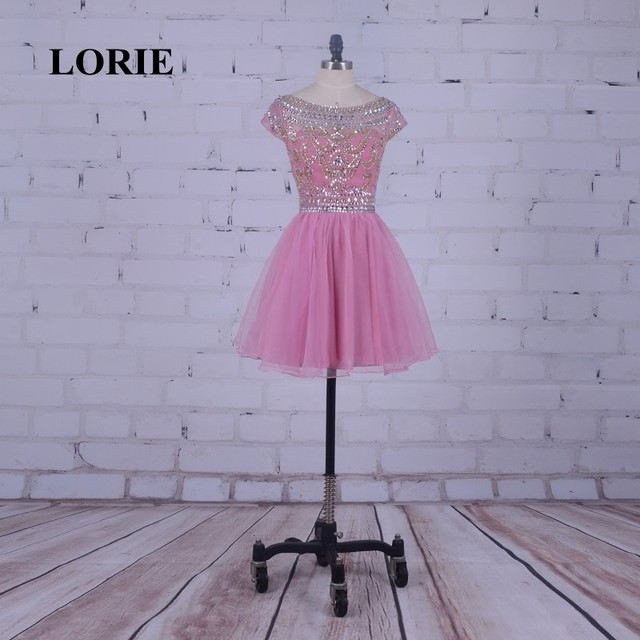 LORIE Pink Homecoming Dress Scoop A-Line Beaded with Stones Short Mini Party Gown vestido de formatura curto cocktail dresses