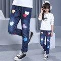 Casual Style Baby Girl 2017 Spring Jeans Pants Cartoon Mickey Heart Pattern Kid Denim Trousers Children Elastic Waist Bottoms