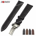 ZLIMSN 100% Genuine Leather Strap Watchbands Black And White Line Watch Band 19mm 20mm 21mm Relogio Masculino