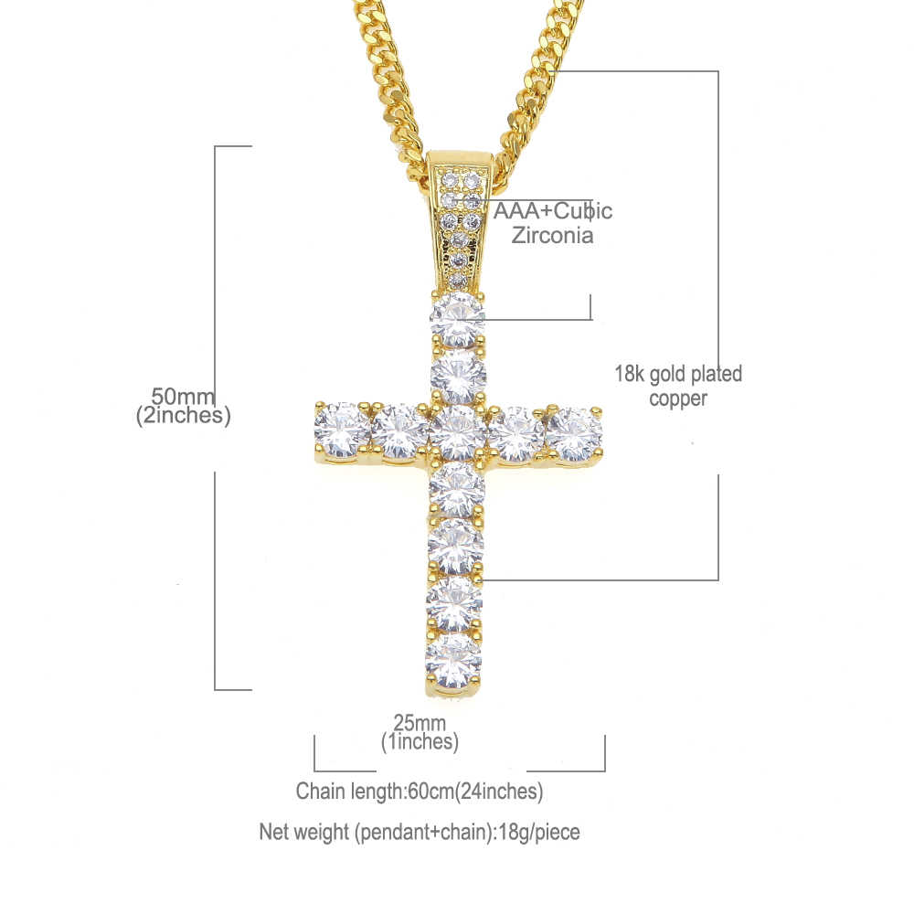 10mm 14k Gold Cz G Link Chain Hip Hop Jewelry King Ice >> Uwin Luxury Mens Full Crystal Aaa Cz Cubic Zirconia Cross Charm Pendant 24inch Cuban Link Necklace Fashion Jewelry Dropshipping