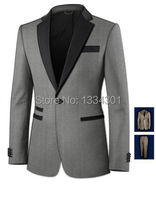 2018 New tailored light grey custom made grooms mens 3 pieces suits/Best man's wedding suits (jacket+Pants+bowtie)