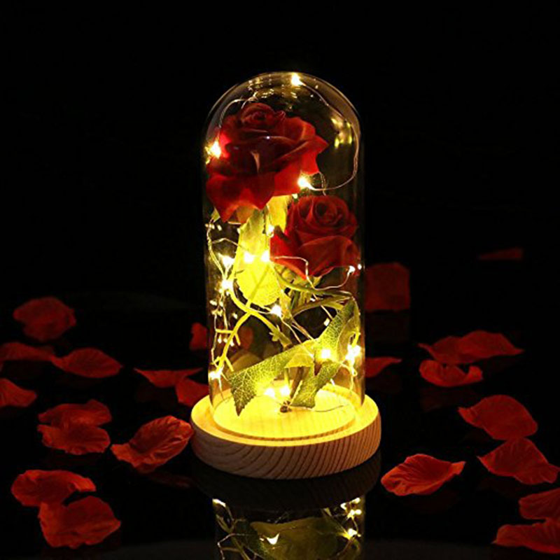 Сохраненный цветок розы Live светодио дный светодиодный свет в стекло купольная крышка ручной работы заколдованный комплект подарок на день ...