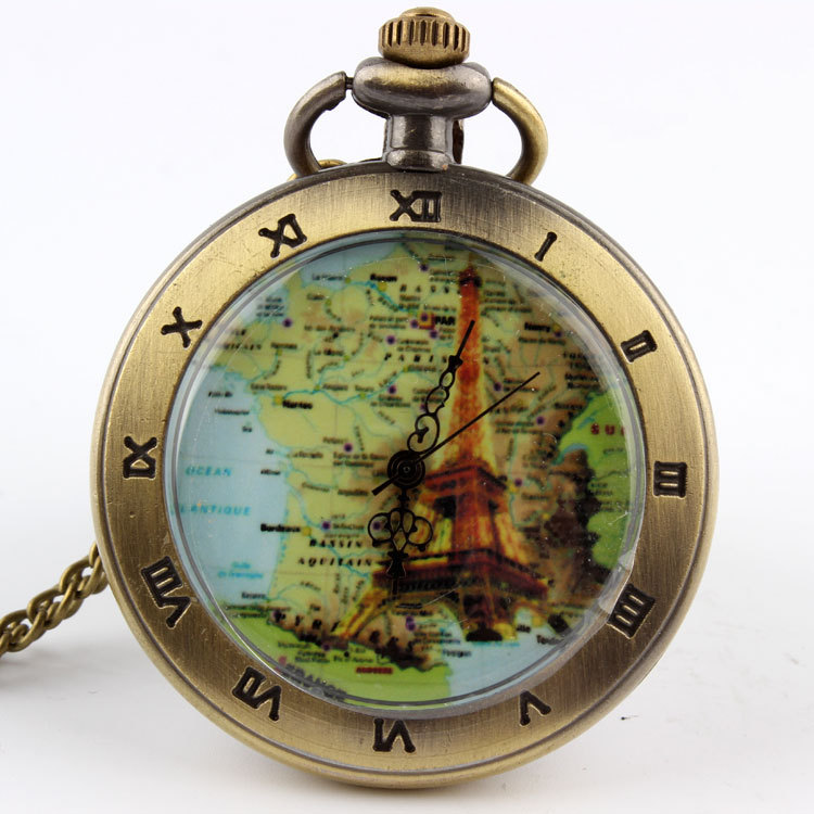 France Map Paris Eiffel Tower Quartz Pocket Watch Necklace Xmas Gift P56