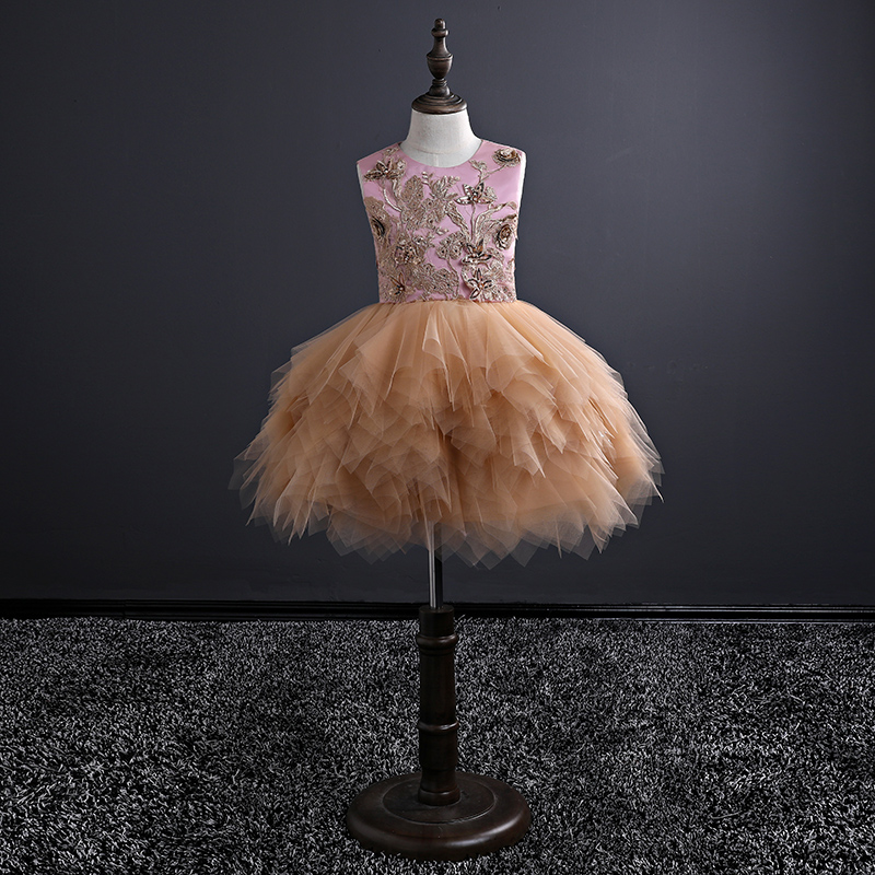 Sleeveless Flower Girl Dress Knee-Length Princess Dress Children Ball Gown Summer Holy Communion Dress Evening Party Gown A158 jioromy big girls dress 2017 summer fashion flower lace knee high ball gown sleeveless baby children clothes infant party dress