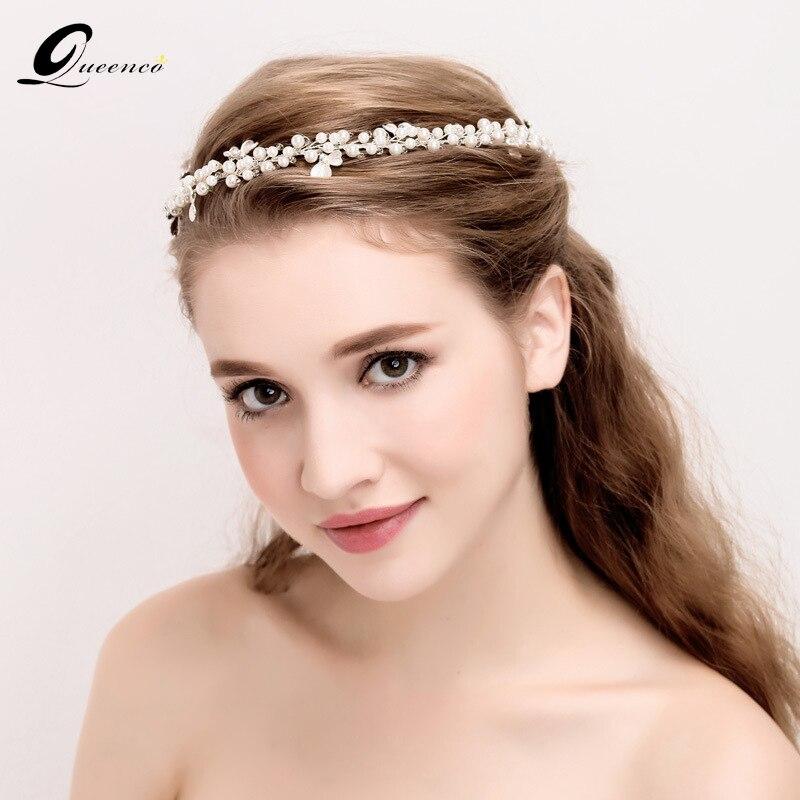 QUEENCO Full Pearls Bridal Hairband Bride Crystal Headband Headpiece Party Prom Hair Ornament Wedding Hair Accessories headpiece