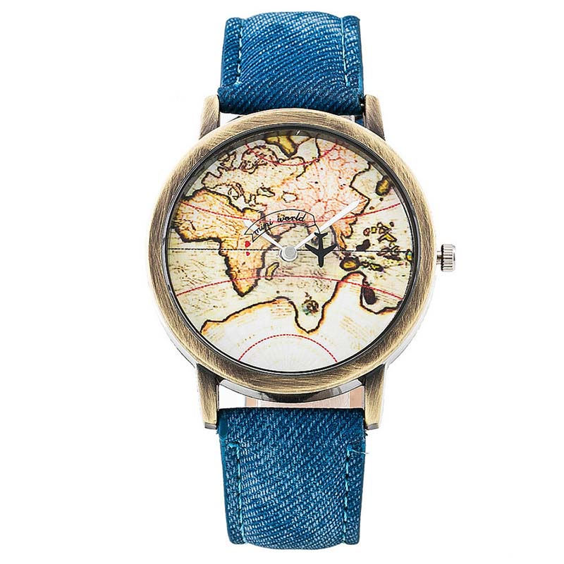 Hot Sale Mini World Fashion Quartz Watch Men Unisex Map Airplane Travel Around The World Women Leather Dress Wrist Watches image