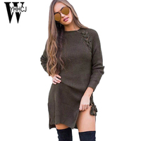WYHHCJ 2017 Casual Warm Autumn Winter Dress Women Long Sleeve Knit Sweater Dresses O Neck Split