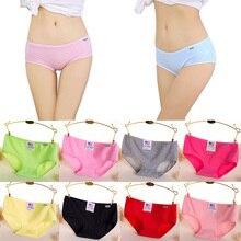 Fashion Ladies Cotton Briefs Women Panties 2017 Candy Color Soft Comfortable Briefs For Female Plus Size Underpants For Girls