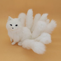 beautiful simulation white Fox toy handicraft lifelike nine tails fox doll gift about 35x18cm
