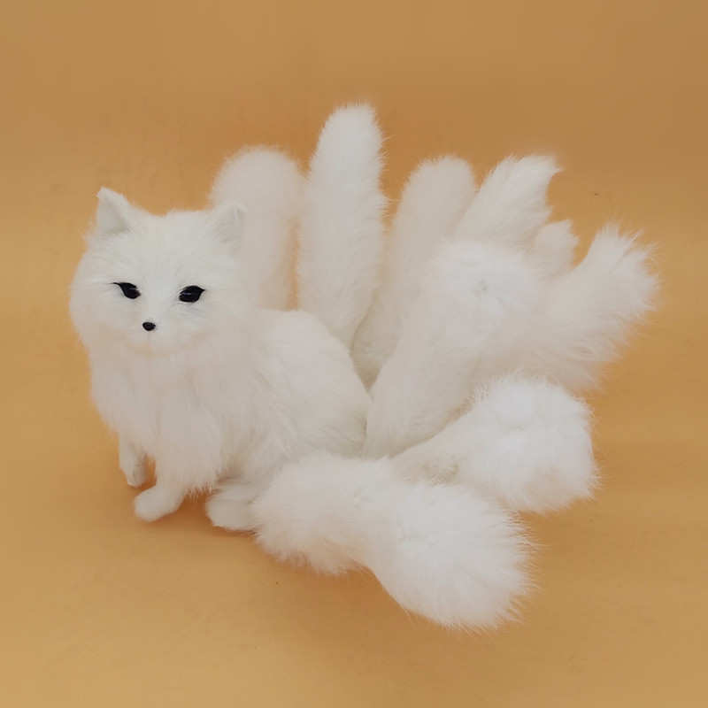 beautiful simulation white Fox toy handicraft lifelike nine-tails fox doll gift about 35x18cm simulation animal large 28x26cm brown fox model lifelike squatting fox decoration gift t479