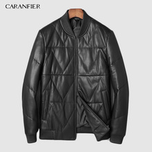 CARANFIER 100% down Mens Jackets Genuine Sheepskin Leather Casual Motorcycles Black Outerwear Overcoats Coat DHL Free Shipping dhl 100