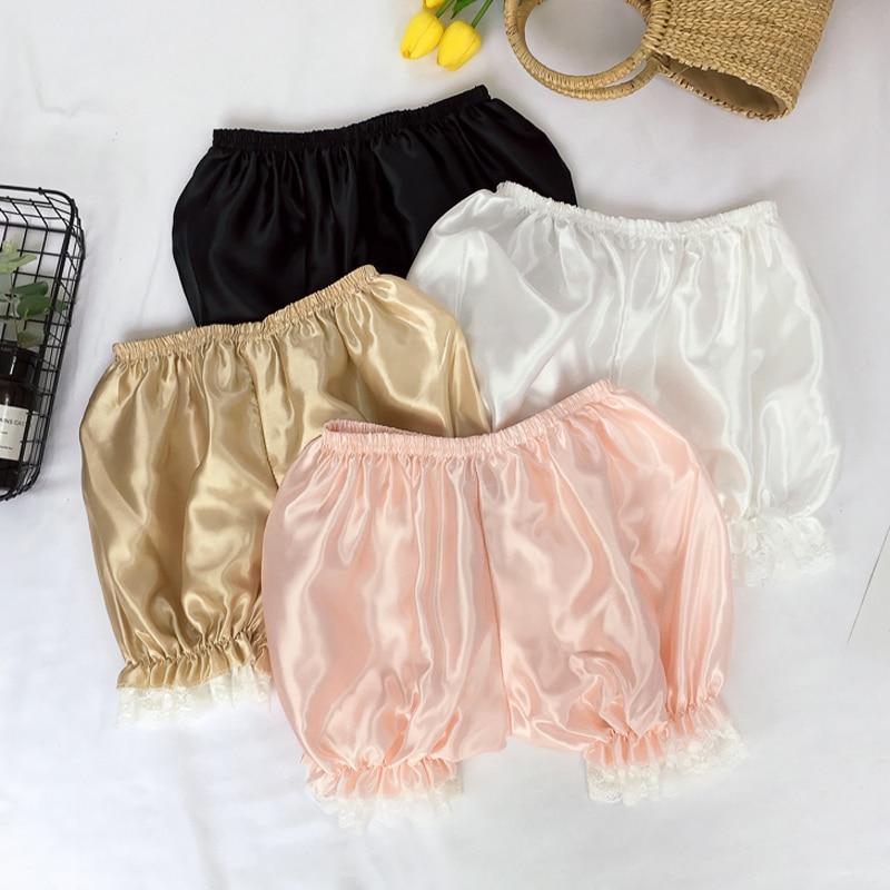 Summer Lolita Kawaii Candy Color Pumpkin Shorts Elastic Waist Lace Pacthwork Shorts Sexy Casual Sweet Women Bottoming Shorts