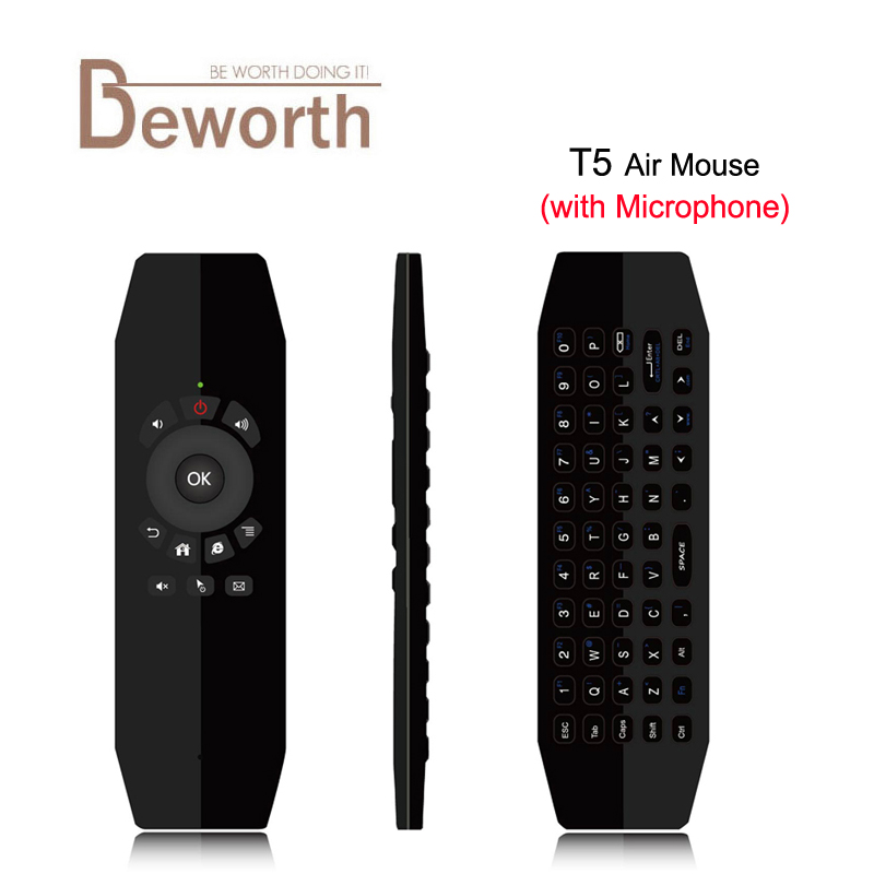 T5 Mic 2.4G Wireless Fly Air Mouse with Microphone Voice Universal Remote Control Keyboard IR Learning For Android TV Box PC T3 vontar 2 4ghz fly air mouse wireless keyboard c2 remote control with ir learning function for smart tv android tv box pc