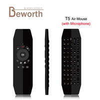 T5 2 4G Wireless Air Mouse With Mic Universal Remote Control Keyboard USB Wireless Receiver With