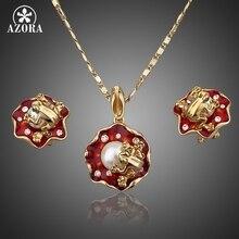 AZORA Las Ranas En la Flor de Loto de Oro Chapado Stud Pendientes y Collar de La Joyería Sets TG0019