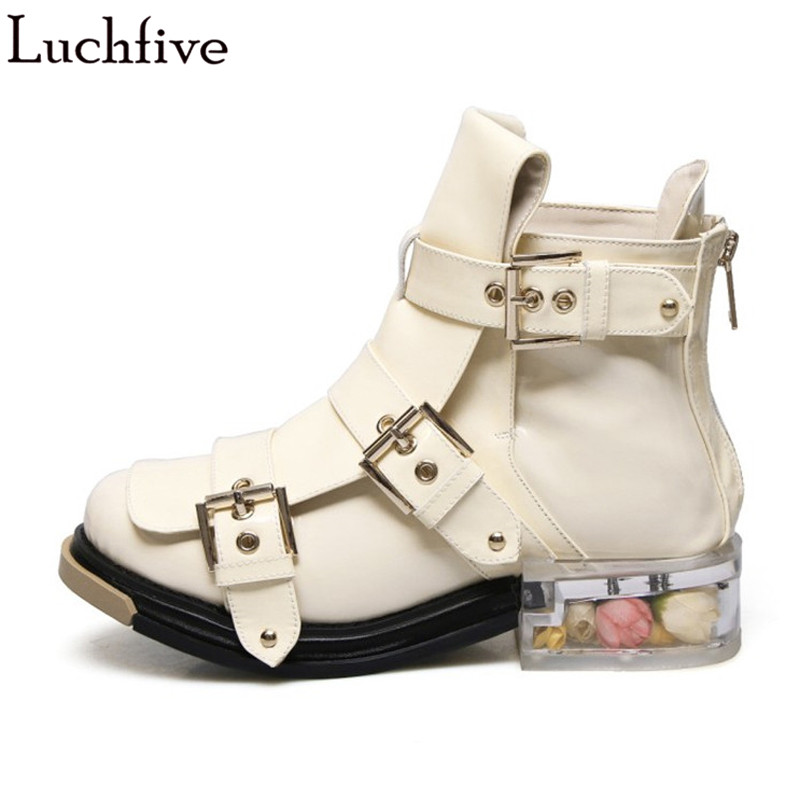 2018 Punk style Boots women clear Transparent PVC flat heel rose flowers decor Ankle Boots Strap buckled martin short booties все цены