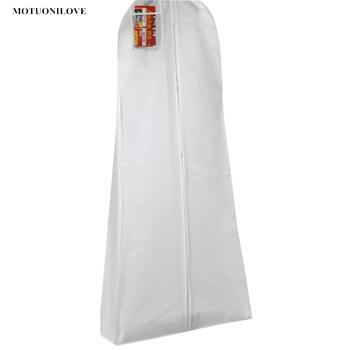 Biały 3 rozmiary w magazynie na ślub długa suknia wieczorowa osłona przeciwpyłowa gruby materiał włókninowy pyłoszczelne torby ochronne nadrukowane LOGO tanie i dobre opinie MOTUONILOVE Yes We can customize if you order more than 100pieces M0989 Stałe Przybywali Włosy syntetyczne Nowoczesne