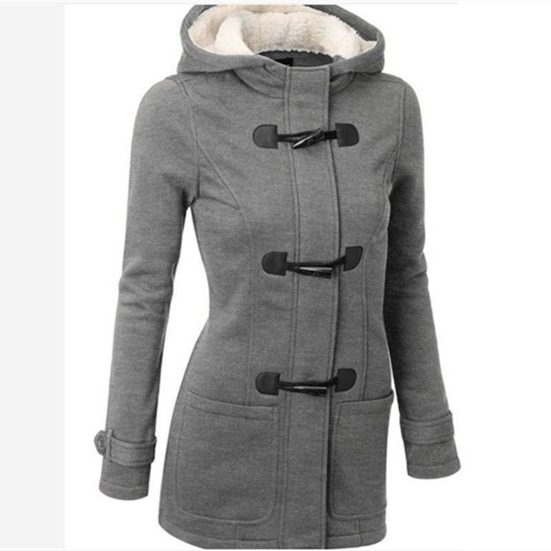 ФОТО Women's Padded Jacket 2016 New Winter Long coat With Hat Horn Button 60% Cotton Ladies Thicker Section Warm Coat Plus Size