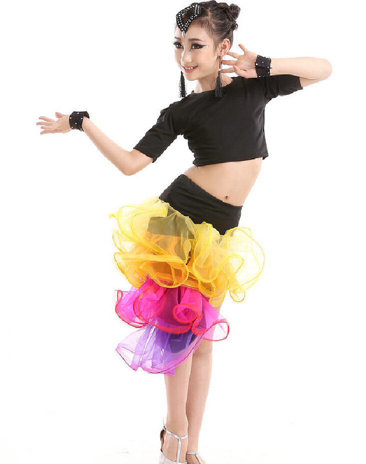 3-17 Y Children Long Latin Skirts & Black Latin Tops Kids Performance Costumes Ballroom Dancing Girls Salsa/Tango Dance Dresses