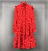 2019 Новая мода волновой точки Высокая шея Роскошные платья для женщин Бесплатная доставка