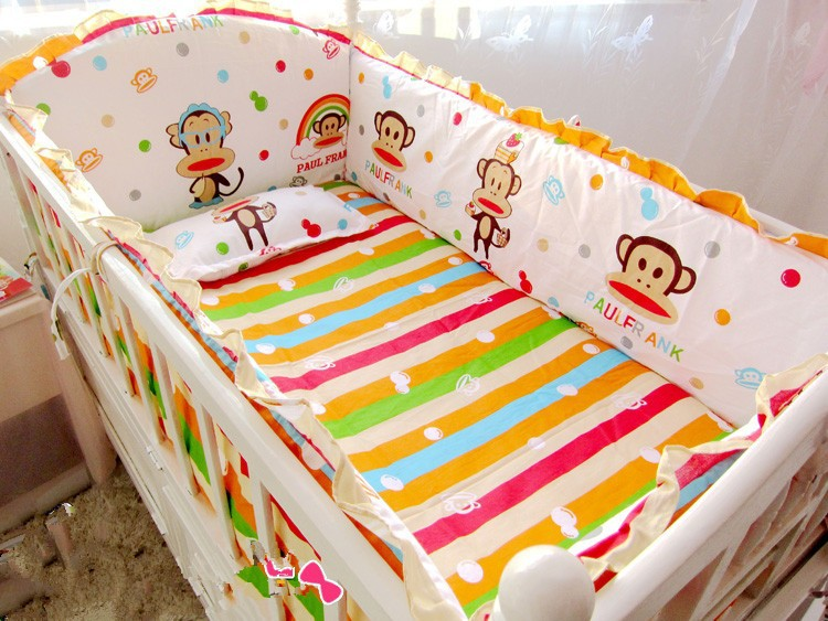 Promotion! 6pcs baby bedding baby crib Sets cotton bed around, baby bed set, (bumpers+sheet+pillow cover) promotion 6pcs crib bedding baby bed package 100% cotton piece set baby bed around bumpers sheet pillow cover