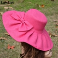Kentucky Derby  Hats Wide Brim Cap Wedding Church Sea Beach Sun Hat Bow Linen Hot Pink  big summer hats for women