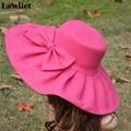 Kentucky Derby  Hats Wide Brim Cap Wedding Church Sea Beach Sun Hat Bow Linen Hot Pink  big summer hats for women