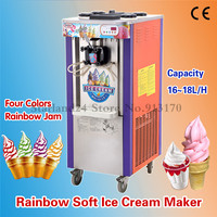 Rainbow Soft Ice Cream Machine 4 Colors Commercial Rainbow Jam Ice Cream Making Machine with Wheels 220V