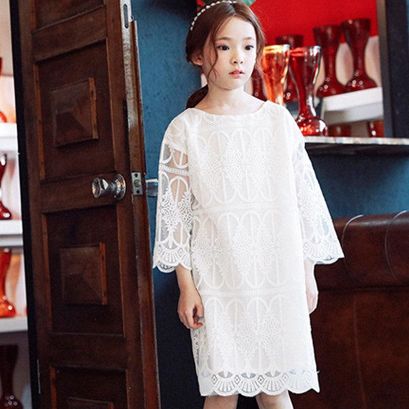 цены  lace teenage baby girls dress summer cotton 2017 knee length white princess girls summer dresses girls dress 10 14 8 10 9 years